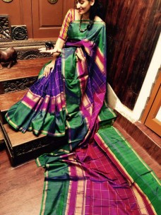 violet with dark green uppada checks silks sarees
