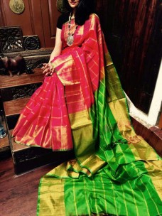 Dark pink with green uppada checks sarees with jari border