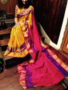 Yellow with dark pink uppada special border sarees