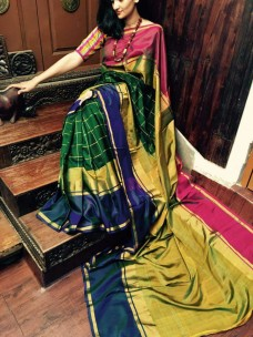 Dark green with mehendi green uppada checks silks sarees