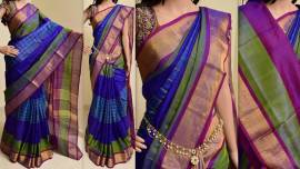 Royal blue uppada special border sarees with checks