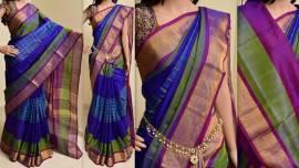 Royal blue uppada special border sarees with checks