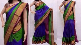 Royal blue with dark magenta uppada special border sarees