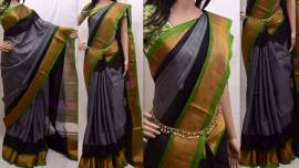 Grey with green uppada special border sarees