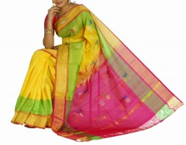 Yellow with pink uppada jamdhani silk sarees