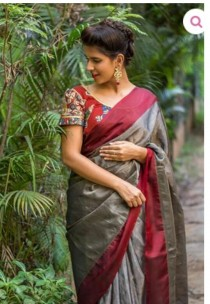 Dark grey with maroon uppada tissue sarees