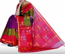 Purple with pink uppada jamdhani silk sarees