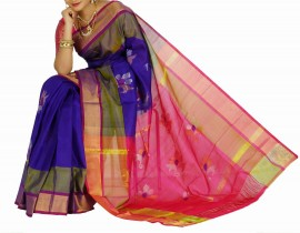 Royal blue with pink uppada jamdhani silk sarees