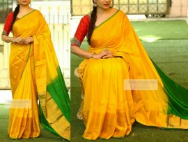 Yellow with green uppada pattu big border saree