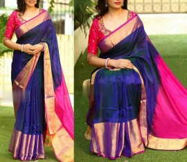 Navy blue with pink uppada pattu big border saree