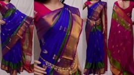 Royal blue with dark pink Uppada silk sarees with butti