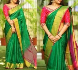 Dark green with dark Magenta Uppada plain  sarees