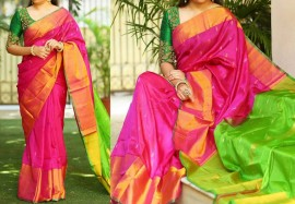Dark pink and green Uppada sarees with butti