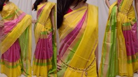 Light pink with yellow uppada checks silks sarees