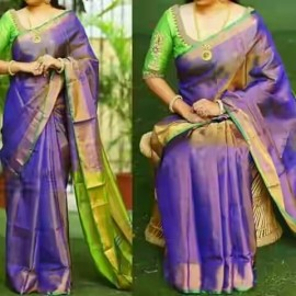 Purple with green uppada tissue silk sarees