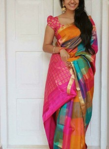 Pink with multicolor checks kuppadam sarees