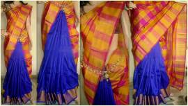 Royal blue with mustard and pink Uppada half and half checks sarees