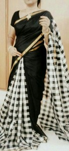 Black and white Uppada checks sarees