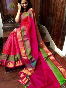 Dark pink and green Uppada special border silk sarees