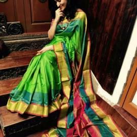 Light green Uppada special border silk sarees