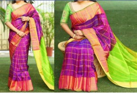 Violet with Apple green Uppada checks with jari border