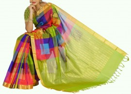 Green multicolor checks kuppadam sarees