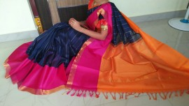Dark navy blue with orange kuppadam sarees