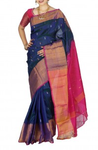 Navy blue Uppada sarees with  butti