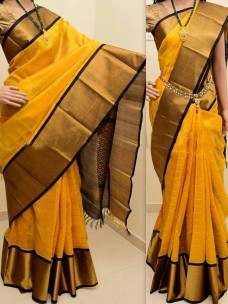Dark yellow and black kuppadam sarees
