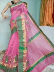 Pink and green kora Cotton Sarees