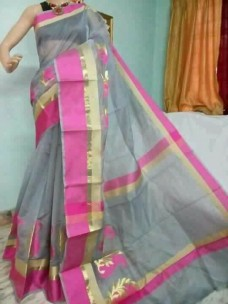 Grey and dark pink kora Cotton Sarees