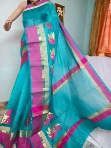 Sky blue and magenta kora Cotton Sarees