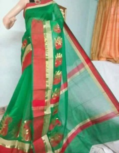 Dark green and maroon red kora Cotton Sarees