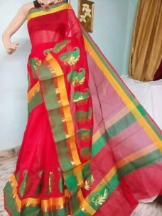 Red and green kora Cotton Sarees