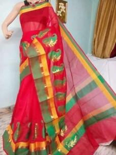Red and green kora Cotton Sarees