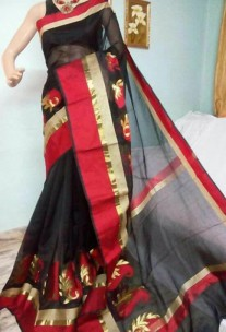 Black kora Cotton Sarees