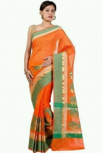 Orange and green kora Cotton Sarees