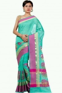 Light green and purple kora Cotton Sarees
