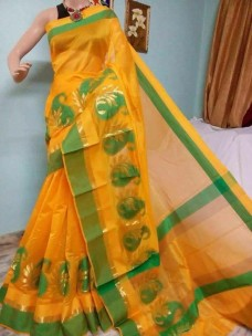 Mango yellow and green kora Cotton Sarees