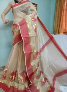 Beige and maroon red kora Cotton Sarees