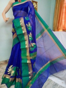 Royal blue and green kora Cotton Sarees