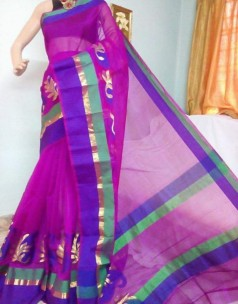 Dark magenta kora Cotton Sarees
