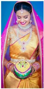 Gold with pink uppada tissue sarees