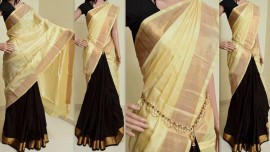 Cream and black Uppada half and half plain sarees