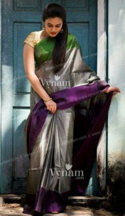 Dark grey with dark purple and green Uppada tissue sarees