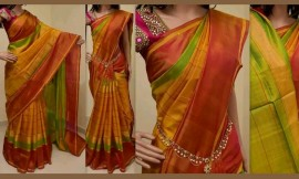 Mustard yellow with green Uppada Anushka model sarees