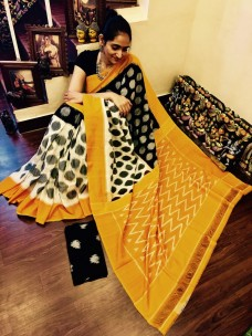 Black and white with mustard yellow Ikkat Cotton Sarees