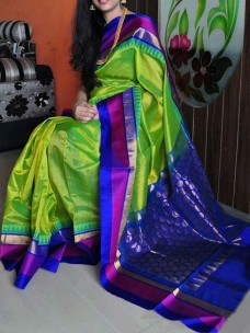 Apple green and royal blue kuppadam sarees