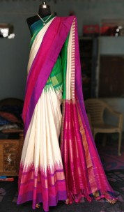 Cream with green and purple Ikkat sarees