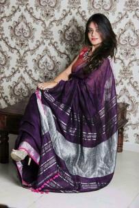 Dark violet with silver jari Lenin sarees